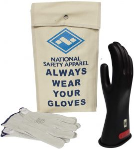 Black Rubber Voltage Glove kit With Leather Protectors