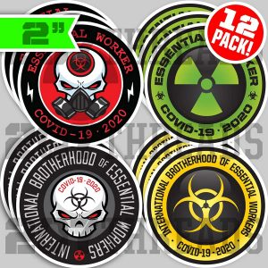 Essential Worker 12 Pack Hard Hit Stickers